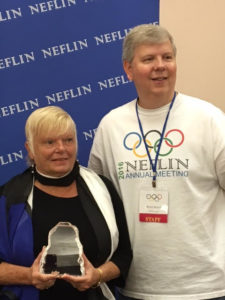 Dee Kaufman, FB FOB President and Brad Ward, Director of NEFLIN at the NEFLIN Annual Meeting.