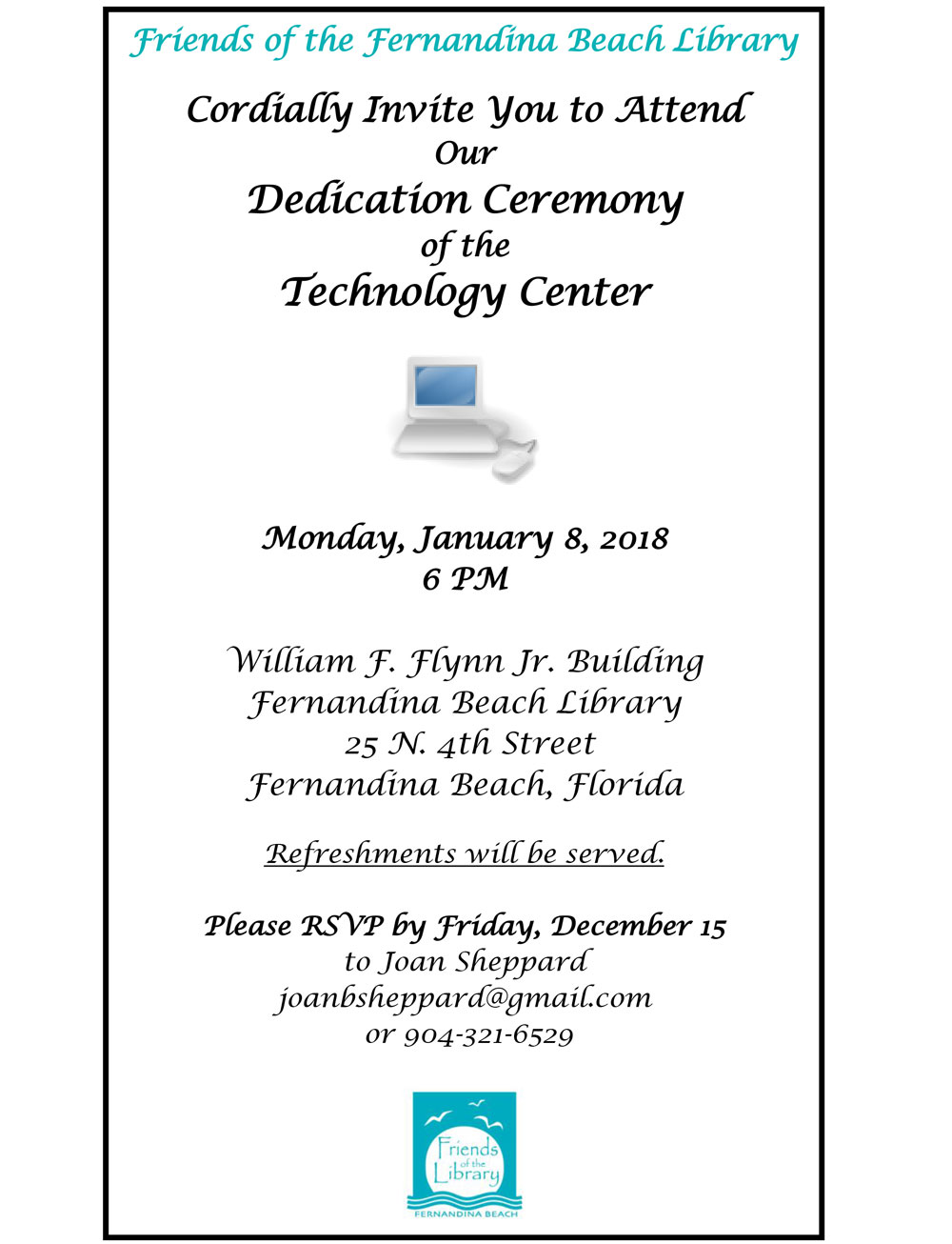 Tech Center Dedication January 8 at 6pm