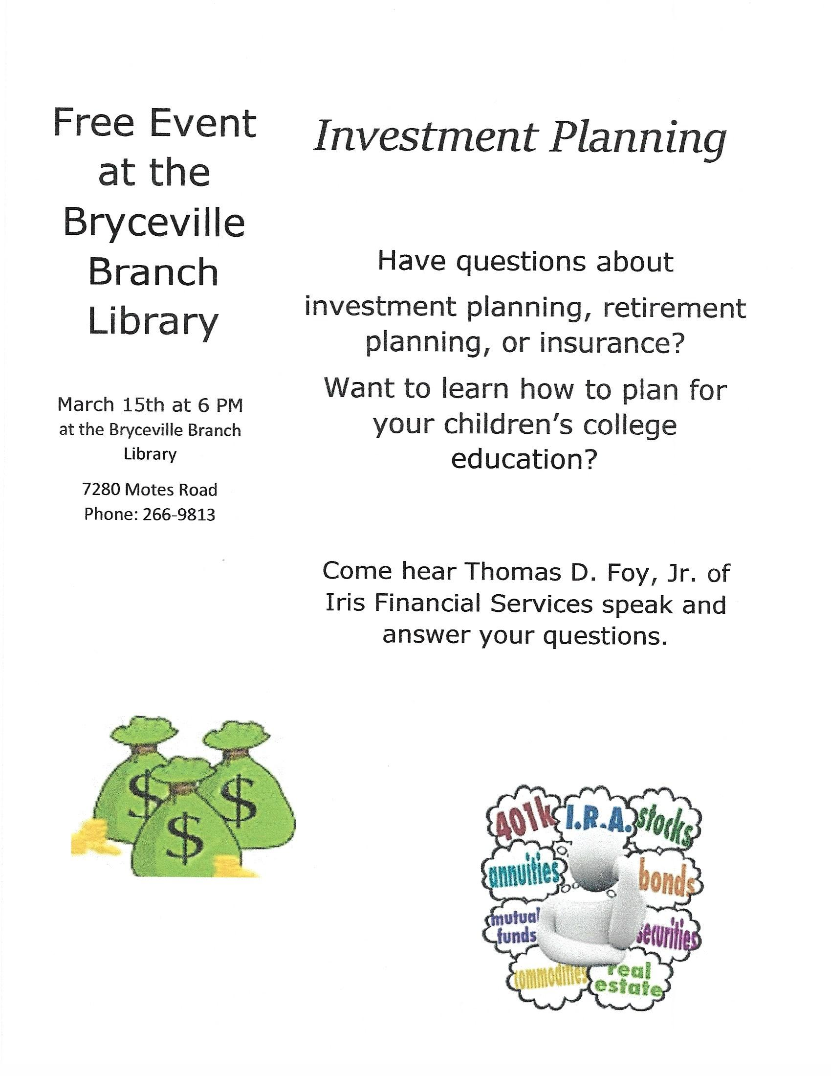Investment Planning on March 15