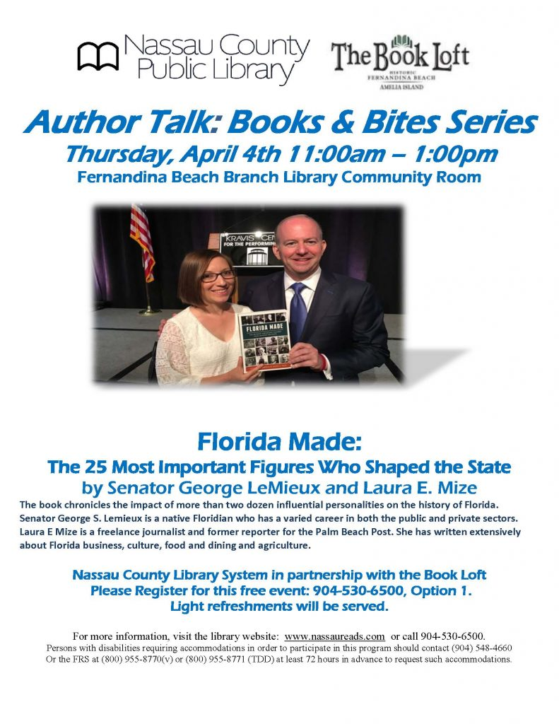 Florida Made author talk April 4th 11:00am – 1:00pm