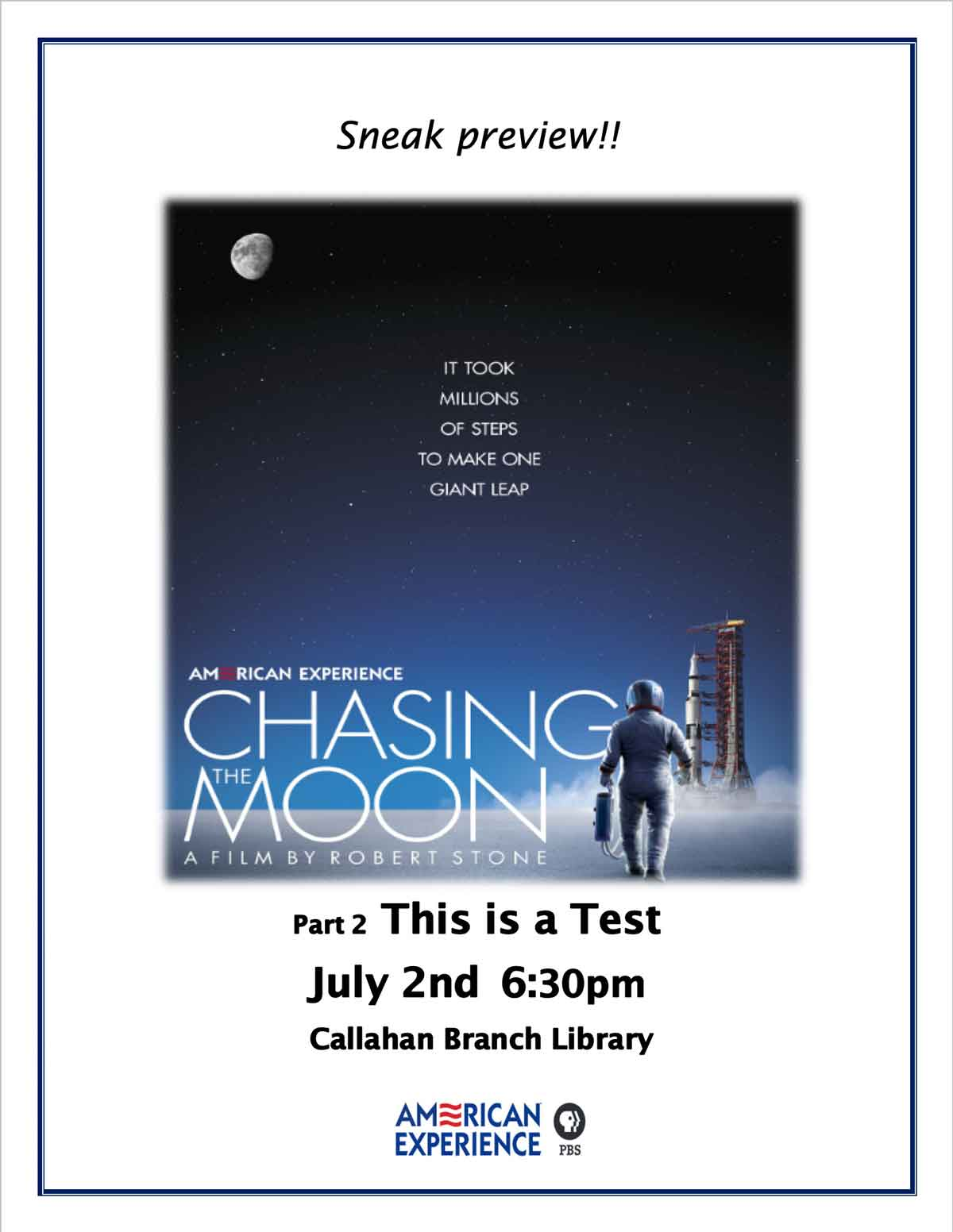 This is a Test on July 2nd at 6:30pm Callahan Branch Library
