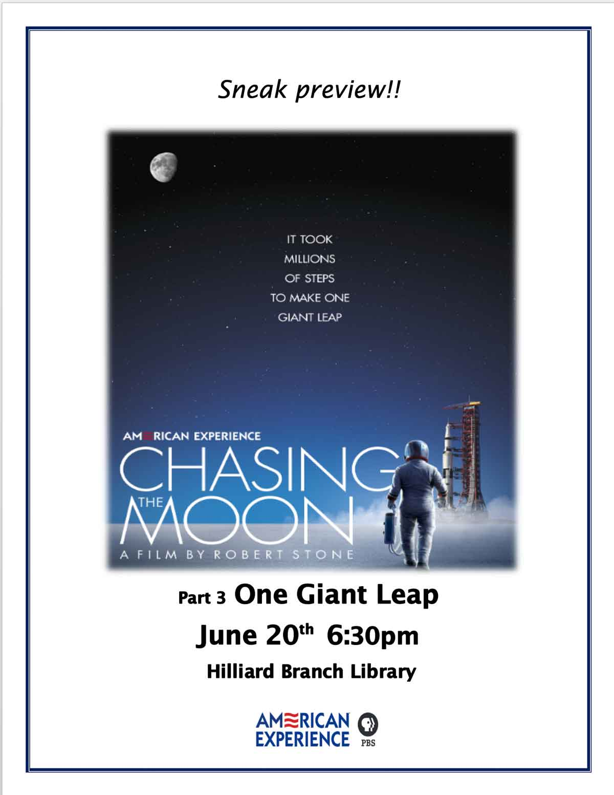 One Giant Leap June 20th 6:30pm Hilliard Branch Library