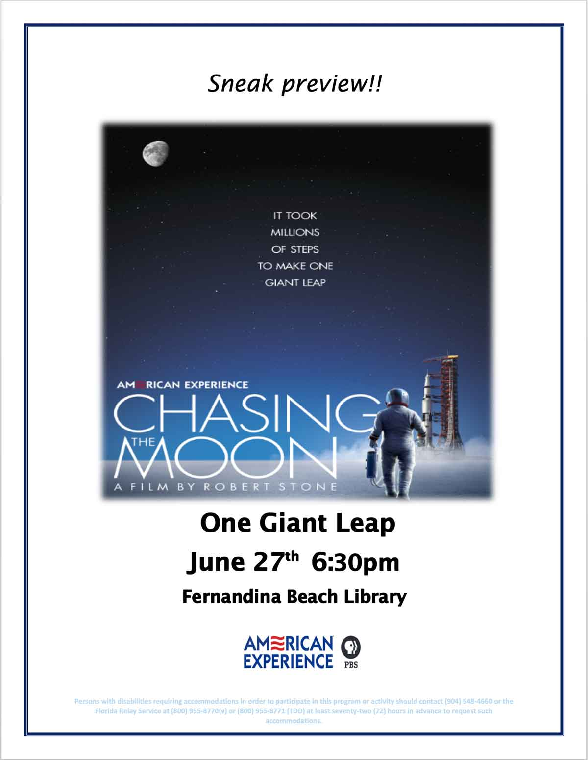 One-Giant-Leap-June-27 at 6:30 Fernandina Beach Library