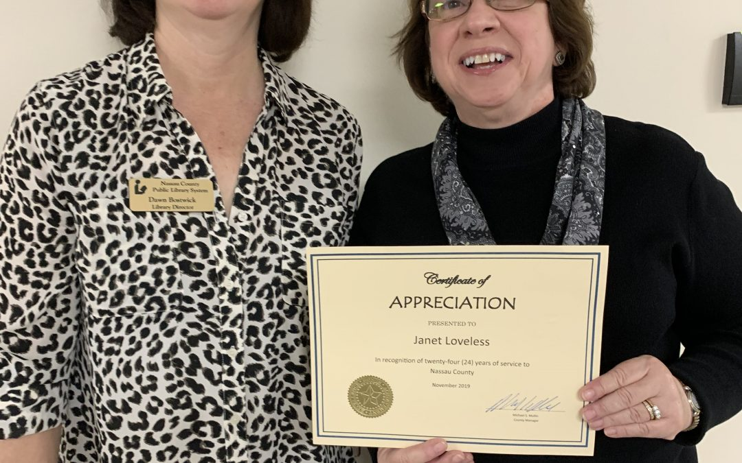 Janet Loveless, Assistant Library Director Receives Recognition