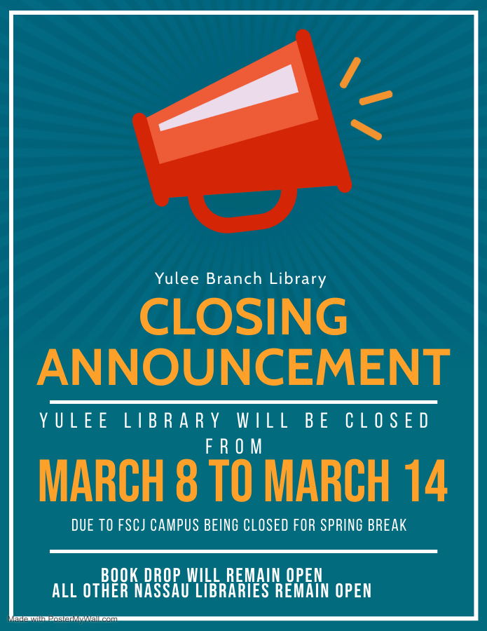 Yulee library closed March 8 to March 14