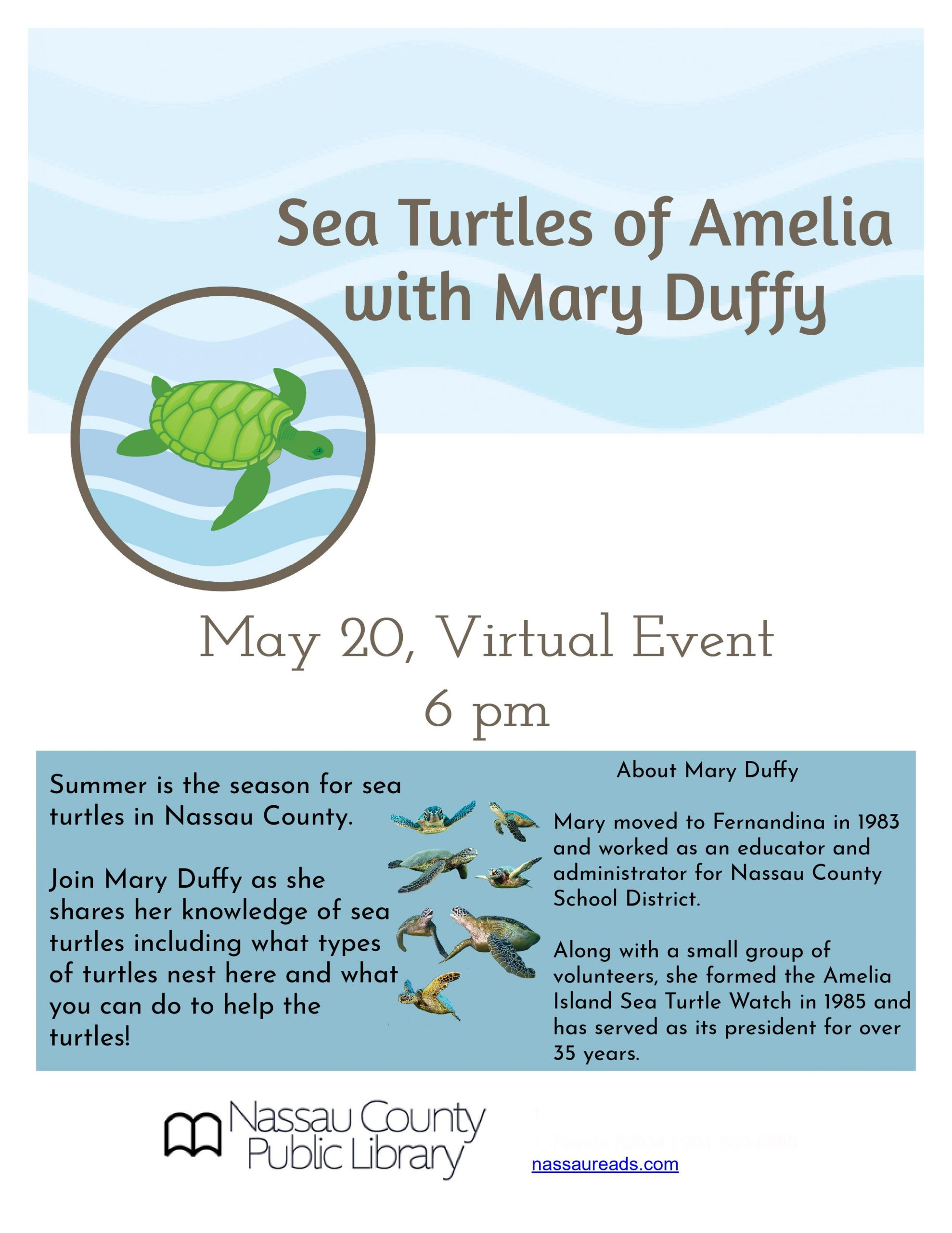 Sea Turtles of Amelia with Mary Duffy virtual program May 20 6pm