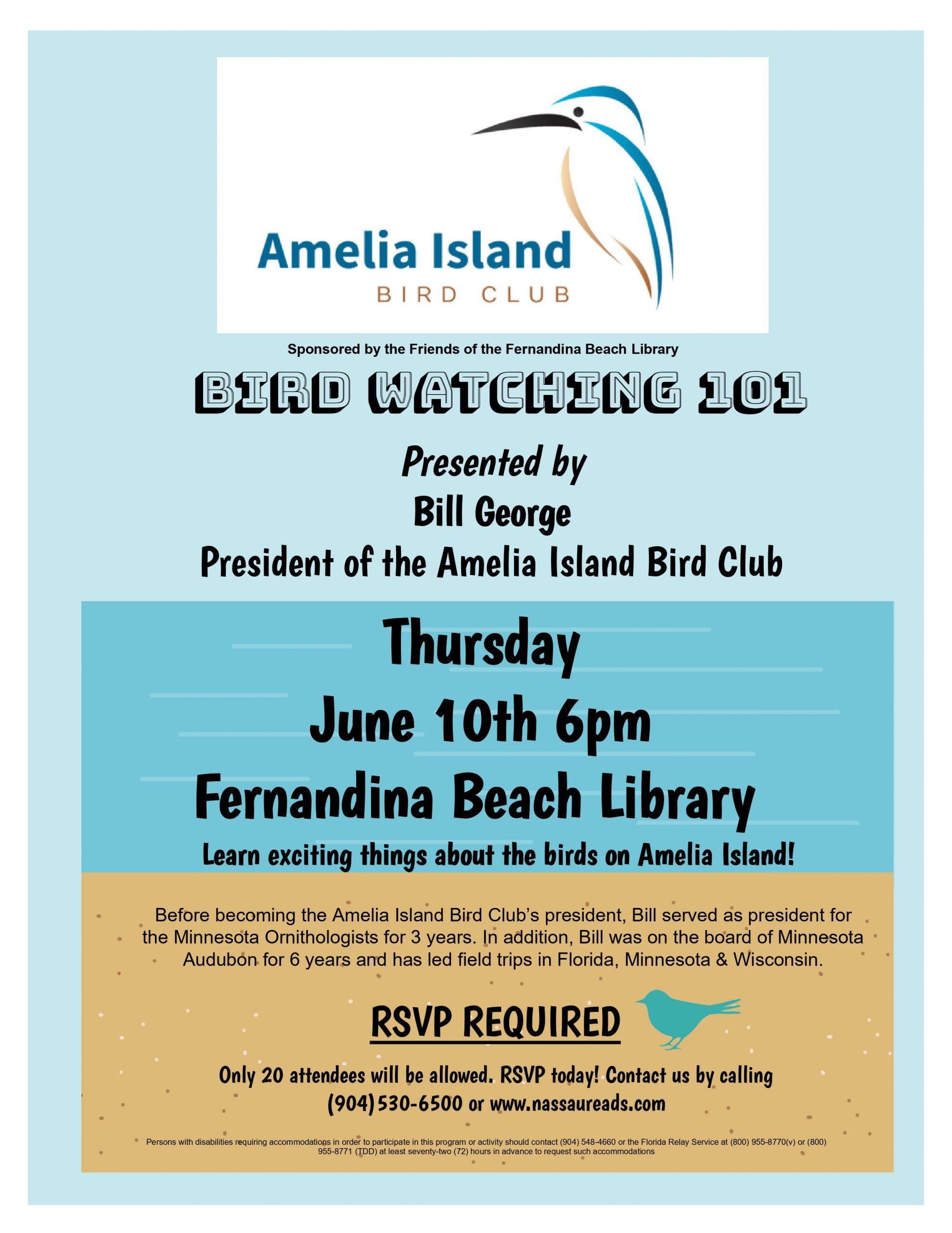 Bird Watching Program Thursday June 10 6pm Fernandina