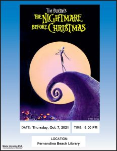October 7 at 6pm-Nightmare Before Christmas at Fernandina Beach library